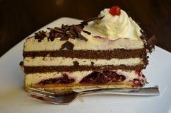 Détail d'un gâteau de forêt noire Images stock