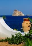 Détail d'un jardin sur l'île de Panarea, Italie Photos stock
