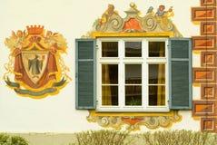 Détail d'une maison peinte en Bavière Images libres de droits