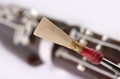 Détail de basson, embouchure de double roseau images libres de droits