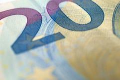 Détail de billet de banque de l'euro vingt Photographie stock libre de droits