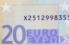 Détail de billet de banque de l'euro 20 Photographie stock