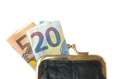 Détail de bourse de pièce de monnaie d'isolement avec des billets de banque Images libres de droits