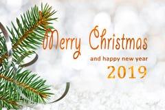 Détail de brindille de Noël avec le Joyeux Noël photos libres de droits
