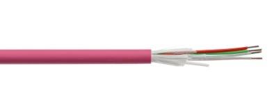 Détail de câble à fibres optiques de fibre d'isolement sur le blanc Images libres de droits