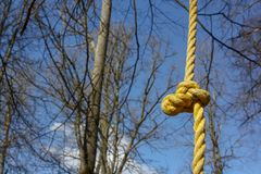 Détail de cadre jaune de s'élever de corde pour des enfants et des adultes en montant le parc de corde au jour ensoleillé images stock