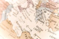 Détail de carte de la Grèce Images stock