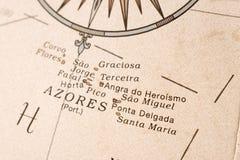 Détail de carte des Açores Photos stock