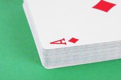 Détail de cartes de jeu d'as de diamant Photos stock