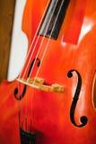 Détail de contre basse - trous de F - coins de violon - bount de C - pont - ficelles images libres de droits