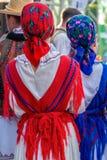 Détail de costume folklorique roumain pour des femmes image libre de droits