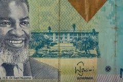 Détail de 10 dollars namibiens de billet de banque Photos stock