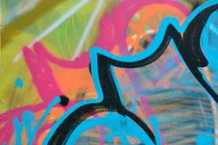 Détail de graffiti sur le mur peint Photographie stock