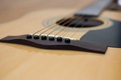 Détail de guitare acoustique Images stock