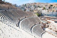 Détail de l'amphithéâtre romain à Amman, Jordanie Photos stock