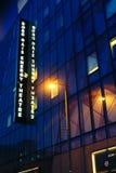 Détail de l'architecture de théâtre de Bord Gais par nuit à Dublin Images stock