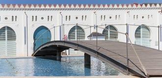 Détail de la façade arrière du bâtiment de moruno dans la ville de Image libre de droits