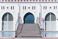 Détail de la façade arrière du bâtiment de moruno dans la ville de Photos stock