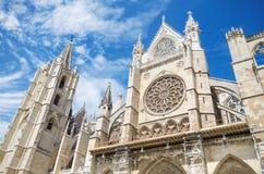 Détail de la façade de Leon Cathedral, Castille y Léon, Espagne photo stock