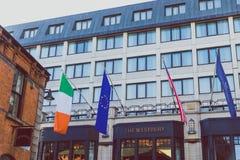 Détail de la façade de l'hôtel de Westbury au centre ciy de Dublin Images libres de droits
