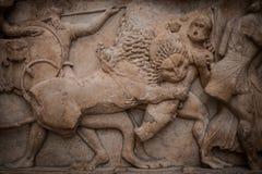 Détail de la frise du trésor de Siphnian Photos stock