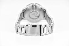 Détail de la montre-bracelet argentée Image libre de droits