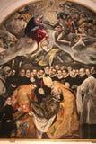 Détail de la plaque de métal typique avec l'imitation de la peinture d'El Greco - l'enterrement du compte Orgas l'Espagne toledo photo stock