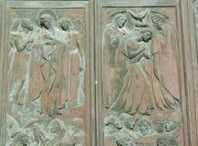 Détail de la porte principale de Siena Cathedral, Italie Image stock