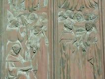 Détail de la porte principale de Siena Cathedral, Italie Images libres de droits
