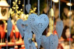 Détail de lanterne de coeur en métal blanc Photographie stock