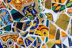 Détail de mosaïque - parc Guell, Barcelone, Espagne photo stock