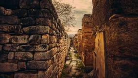 Détail de mur de ville antique d'Afrodisias d'Aphrodisias dans Caria, Karacasu, Aydin, Turquie photographie stock libre de droits
