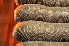 Détail de pied de Bouddha-statue étendue Photo libre de droits