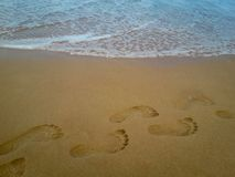 Détail de plan rapproché d'un pied femelle sur la plage photographie stock libre de droits