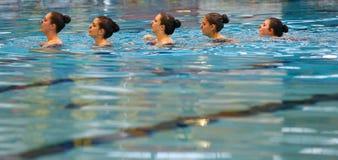 Détail de pratique en matière d'équipe de natation synchronisée écoutant pour donner des leçons particulières images stock