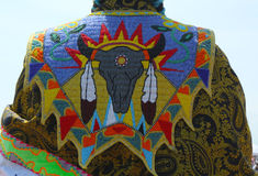 Détail de robe traditionnelle du prisonnier de guerre wow de Natif américain photo stock
