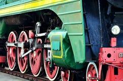 Détail de roue d'une locomotive de train de vapeur de vintage Image stock