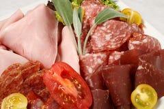 Détail de salami, de jambon et de lard Photo libre de droits
