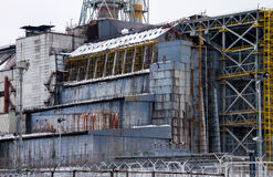 Détail de sarcophage du réacteur 4 de Chernobyl Photos stock