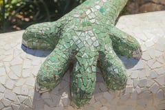 Détail de sculpture en lézard dans le guell de parc de Barcelone Photographie stock