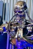 Détail de squelette en métal de robot de cyborg de terminateur images stock