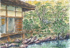 Détail de temple de Ginkaku Kyoto, Japon illustration libre de droits