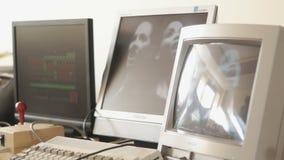 Détail de vieil écran de visualisation banque de vidéos