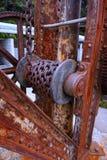 Détail de vieille grue de chantier de construction navale Image libre de droits