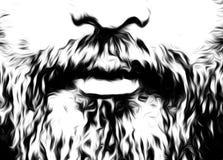 Détail de visage de l'homme avec la moustache et la barbe, conception d'infographie Image libre de droits