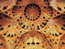 Détail dense d'architecture islamique beau des mosaïques et des volumes Photographie stock libre de droits