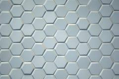 Détail des carreaux de céramique hexagonaux gris-clair Image libre de droits