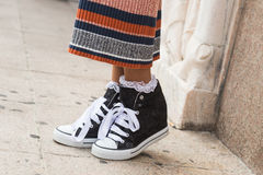 Détail des chaussures chez Milan Fashion Week Photographie stock