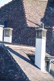 Détail des cheminées étroites grandes sur un toit carrelé photos libres de droits