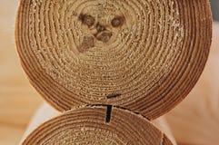 Détail des faisceaux dans le mur de carlingue bois non peint images libres de droits
